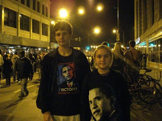 My cousin Paula's kids Adam and Emily, on the way to the Obama celebration in Chicago last night