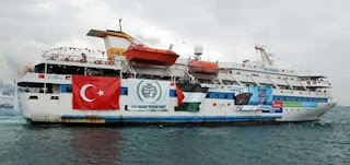 "The Mavi Marmara, the ""Turkish"" ship that was attacked by ""Israeli"" forces"