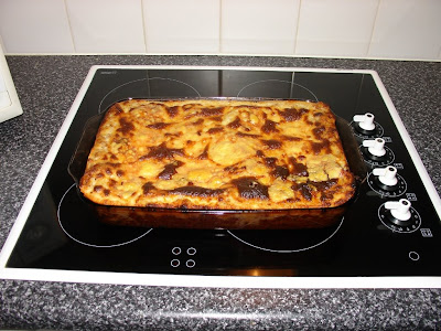 Lasagne fresh out of the oven