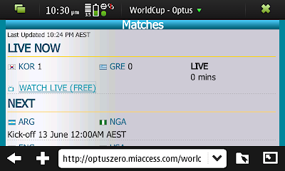 Optus Free Streaming World Cup Website on the N900