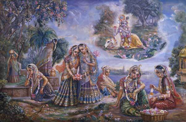 Krishna disguised as gopi by vrindavan das