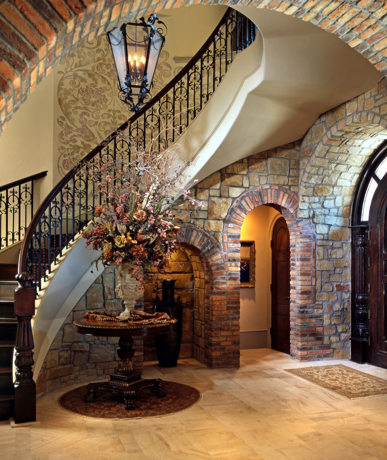 Home interior design stair railings interior for Tuscan decorations for home