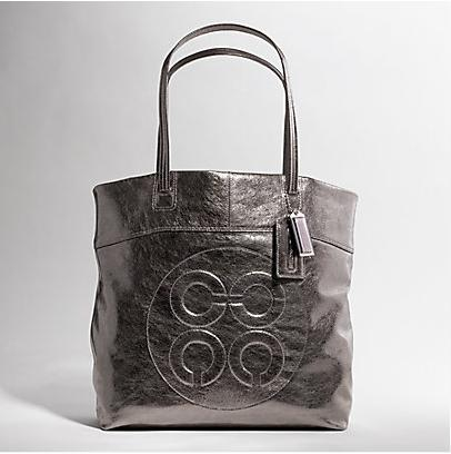 Model Julia Leather Op Art Perry Tote Color Silver Gunmetal Dimensions 19 L X 14 1 2 H 7 4 W Price 298 SH Fee