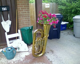 Recycled tuba planter