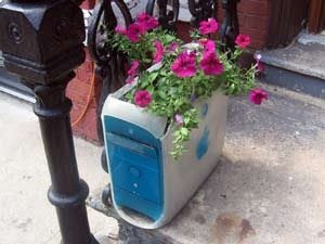 Old computer planter