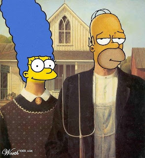 Homer and Marge Simpson in Grant Wood's American Gothic