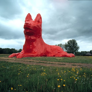 Max the Red Giant Dog Sculpture