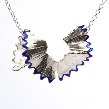 blue pencil shaving necklace