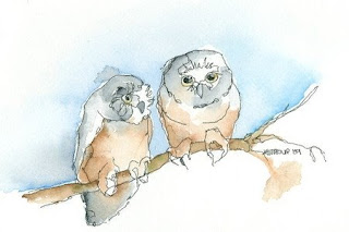 Owls Watercolor Painting