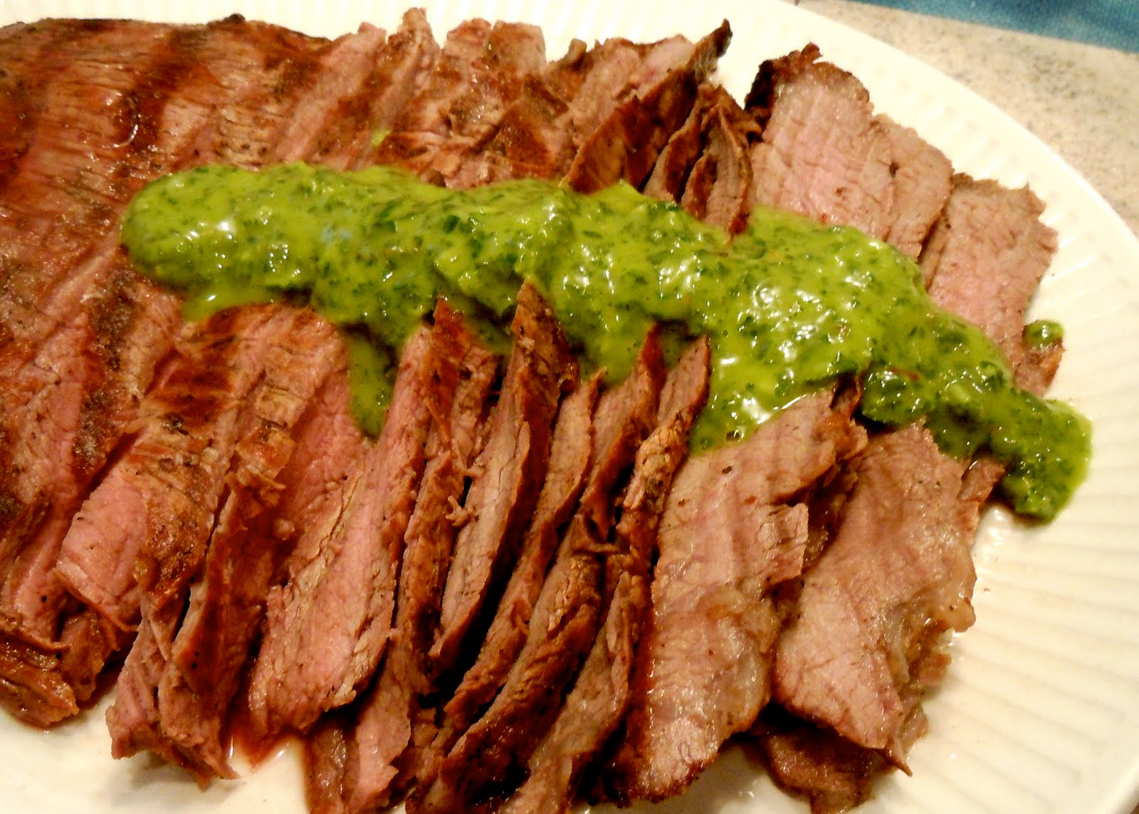 Cook. Eat. Enjoy. Repeat.: Beer Marinated Flank Steak with Chimichurri