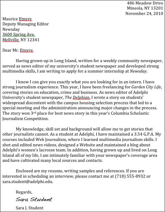 summer internship cover letter sample