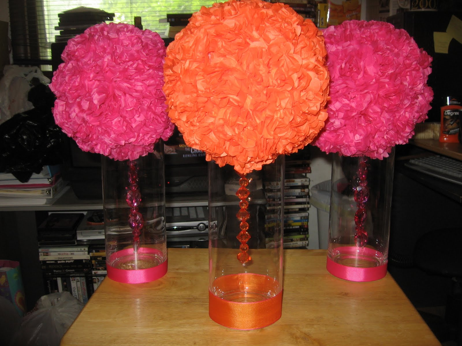 The diy bride escort card table centerpieces finished