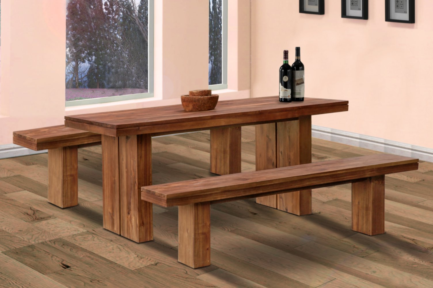 Danielle dining table and bench java valentti for Dining room table and bench set