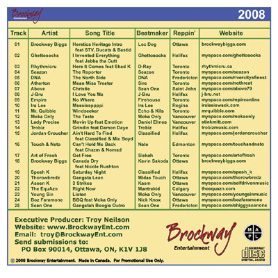 brockway entertainment 2008 canadian rap future superstars compilation back cover and tracklist