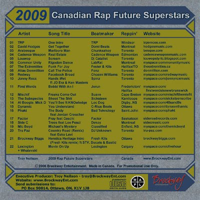 brockway entertainment 2009 canadian rap future superstars compilation back cover