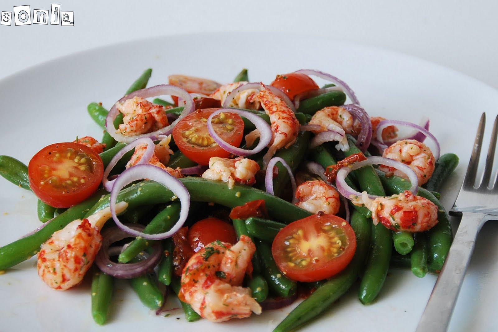 Ensalada de jud as verdes con cangrejos de rio y tomatitos - Como hacer judias verdes ...