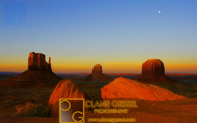 monument valley sunset and full moonrise on the monument valley navajo indian reservation