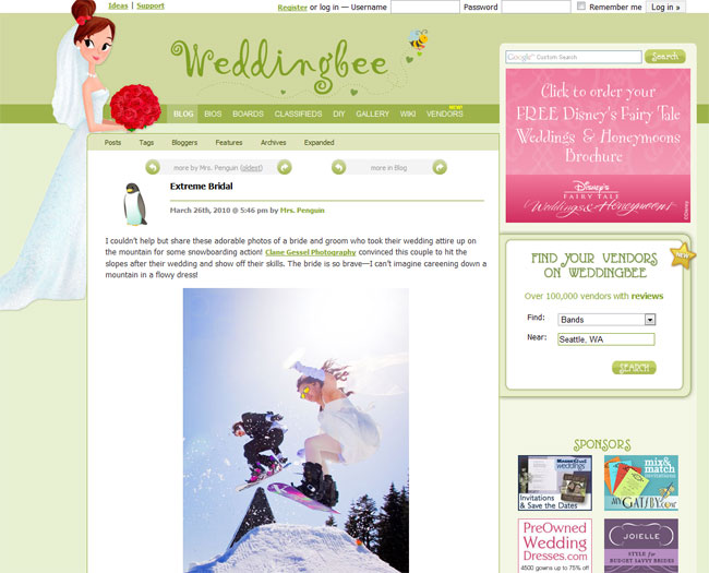 weddingbee.com feature snowboarding with the bride extreme bridal