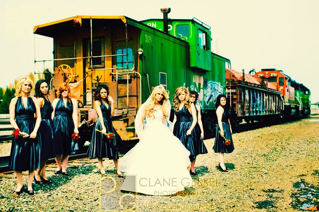 train wedding photography, bridesmaids, train wedding