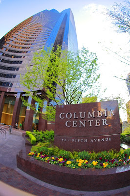The Columbia Center tower in Downtown Seattle on  5th Avenue is the tallest building in the Seattle Skyline