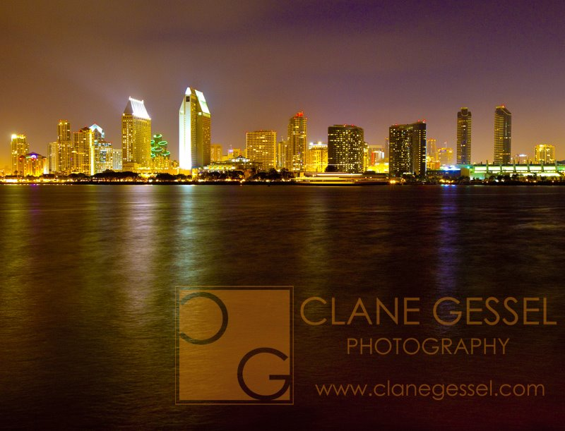 San Diego Skyline at night from the Coronado san diego cityscape reflection in the water landscape photography