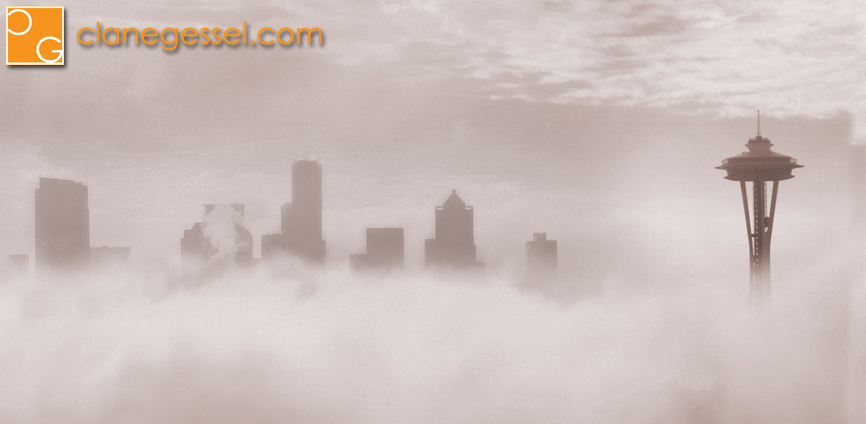 Seattle cityscape in the fog photo picture photography space needle foggy skyline clane gessel downtown