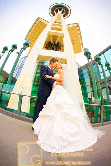 Space needle fisheye, seattle wedding photography fisheye