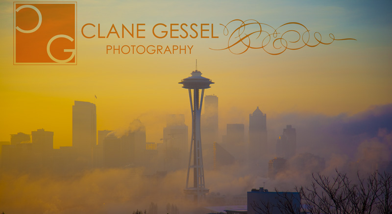 the Space Needle from Kerry Park and Seattle foggy skyline