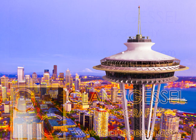 Seattle skyline aerial photo from a helicopter with the space needle and cityscape