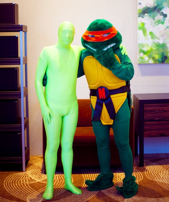 Michelangelo ninja turtle and green man suit