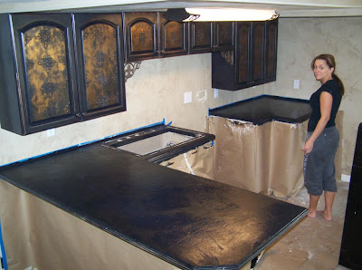 Countertop Paint Black : Angelas Two angels: Finishing the countertops!!