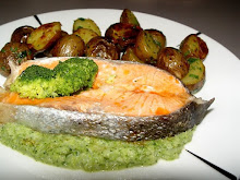 Steamed salmon with brocoli puree and baby potatoes