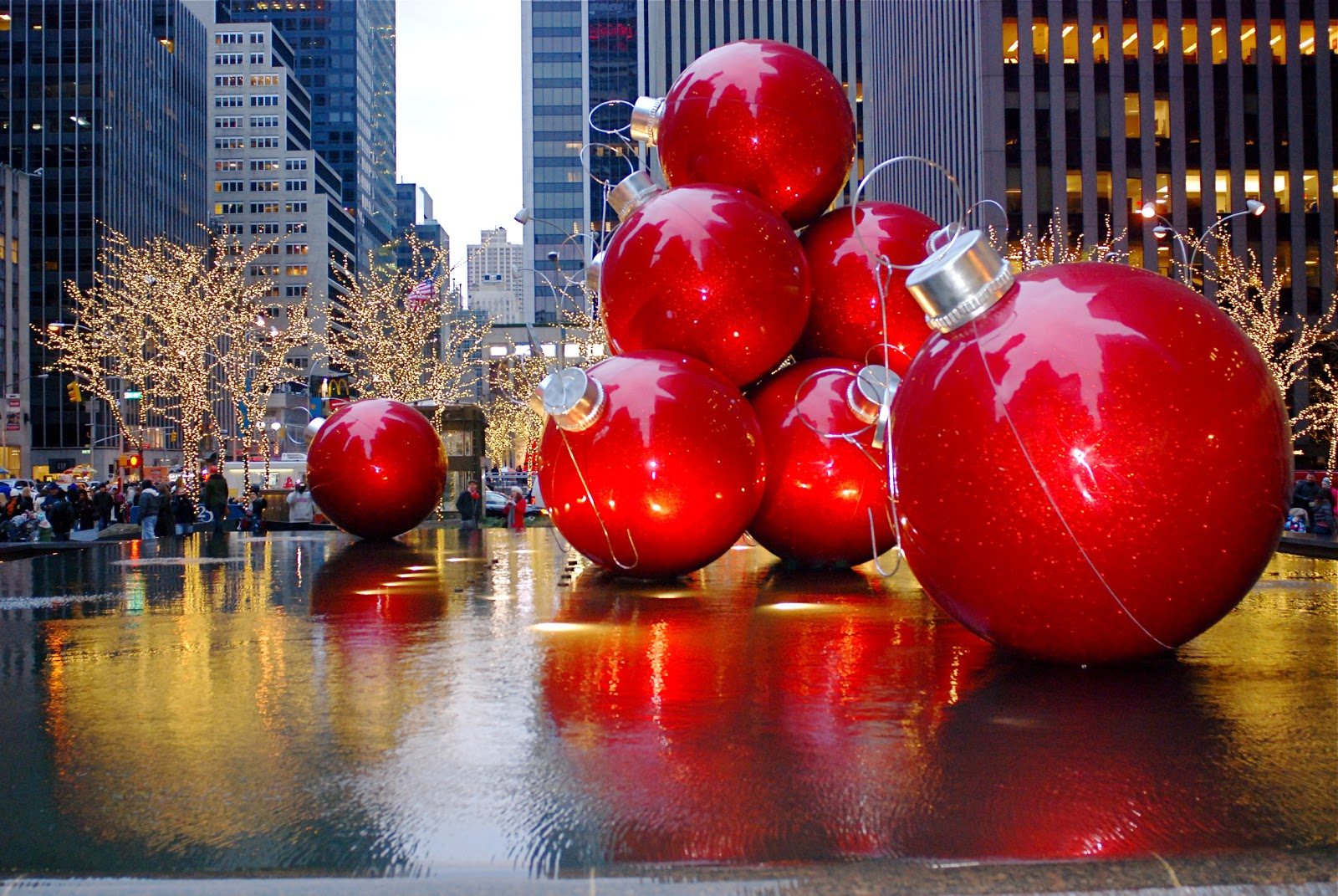christmas holiday decorations on sixth avenue - New York Christmas Decorations