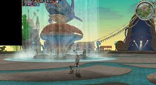 謎の島内、噴水