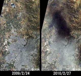 Chile, antes y después, en imagen de la agencia aeroespacial de Japón. Efe