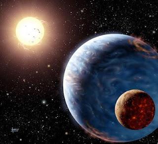 Recreación artística de una 'supertierra' orbitando alrededor de su estrella. | AFP