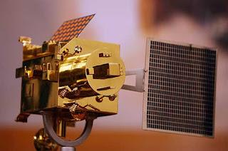 Réplica de la sonda lunar india Chandrayaan 1. AFP
