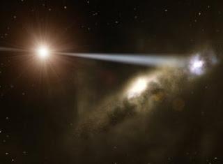 Ilustración de cómo los chorros de agujeros negros súper masivos podrían formar galaxias. ESO