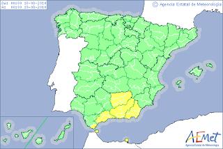 Chubascos y tormentas fuertes en Andalucía oriental. AEMET