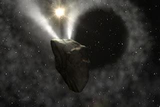 Recreación artística de un estallido del cometa '29P/Schwassmann-Wachmann 1'. CSIC
