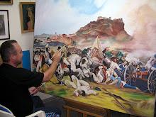 Pintando en mi estudio.