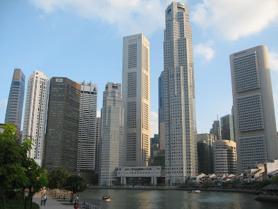 The Singapore skyline teems with posh business centers and hotels in Singapore City like the Parkview Hotel in Singapore Beach Road