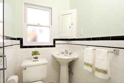 Bathroom on Renovation Blog  1930 S Bathroom With White Subway Tile And Black Trim