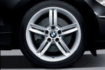 BMW light-alloy wheels double-spoke 208 M with mixed runflat tyres