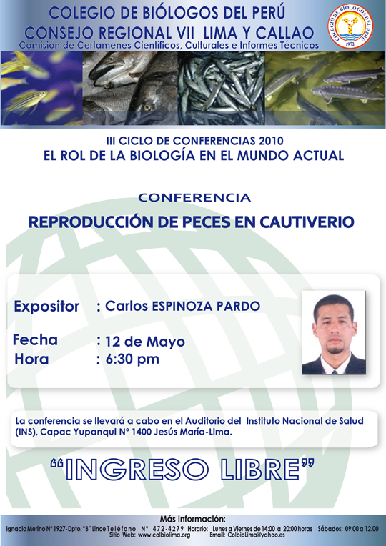 Cnp cr iv eventos academicos abril julio nacionales e for Cria de peces en cautiverio