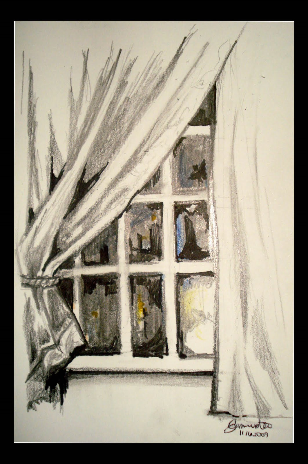 window pencil drawing. looking out my window mixed media (pencil, black pen, colored pens, pencil) pencil drawing s