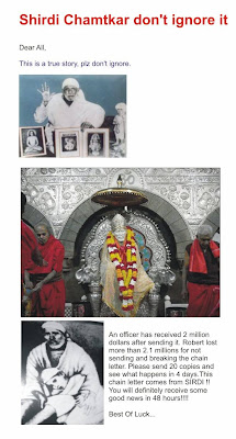 An Appeal to Break the Chain of Forwarding Sai Baba Mails