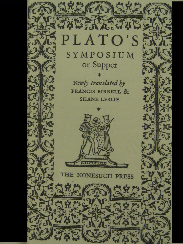 plato symposium The dramatic nature of plato's dialogues is delightfully evident in the symposiumthe marriage between character and thought bursts forth as the guests gather at agathon's house to celebrate the success of his first tragedy.