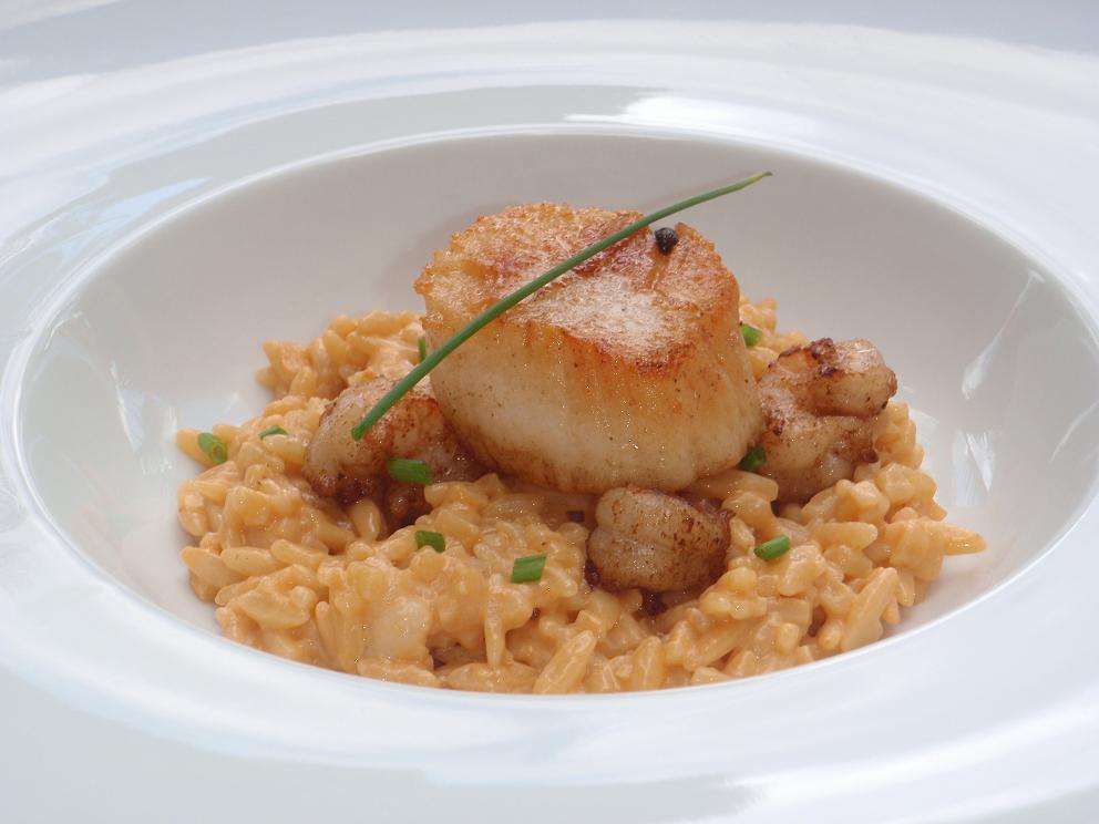 Lazaro Cooks: Sea Scallop & Prawn Orzo