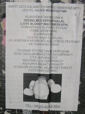 Bródy Sándor utca, Budapest, Józsefváros, plakát, sci-fi, VIII. kerület, Miért szolgálnád az emberiséget? Legyél inkább robotsztár!<br />(VIII. kerület, Bródy Sándor utca)